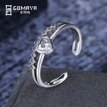 GOMAYA Genuine 925 Sterling Silver Love Heart Finger Rings for Women with AAA Zircon Engagement  Fine Jewelry Vintage Style