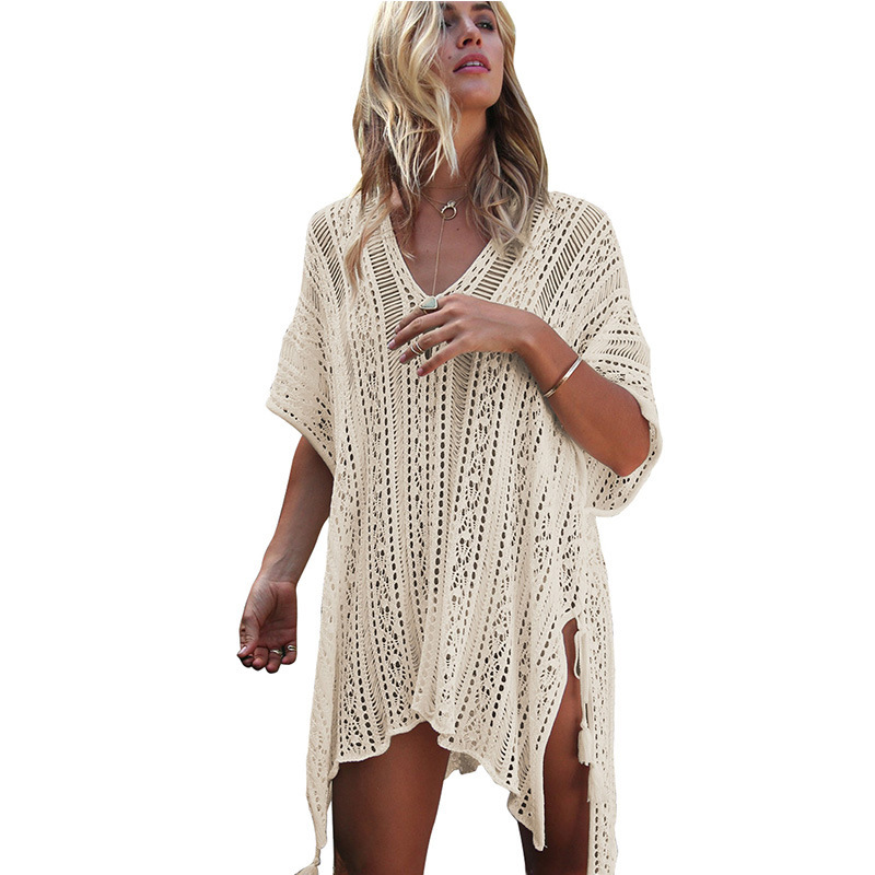 Womens Bathing Suit Cover up Beach Bikini Swimsuit Swimwear Crochet Bikini Cover Up Lace Hollow Swimsuit Beach Dress Female