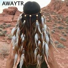 Faixa de cabeça awaytr para mulheres, acessório feminino para festival e cabelo, penas turbante