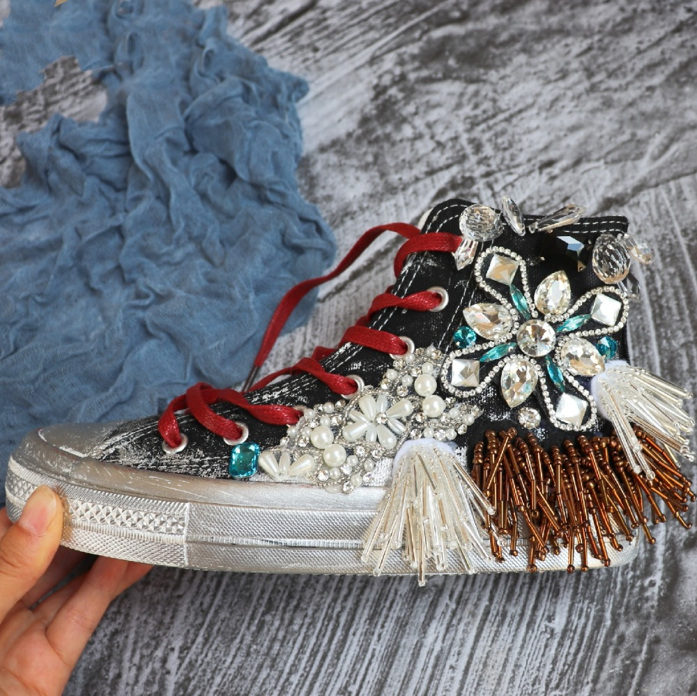 Spring and Autumn Beaded Rhinestone Canvas High Sneakers Shoes Women Flats Black Breathable Lace Up Casual Shoes wk146 in Walking Shoes from Sports Entertainment