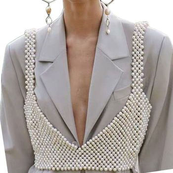 Womens Sexy Handmade Imitation Pearls Beading Crop Top Exterior Vest Hollow Out Grid Camisole Decoration Night Party Clubwear 6