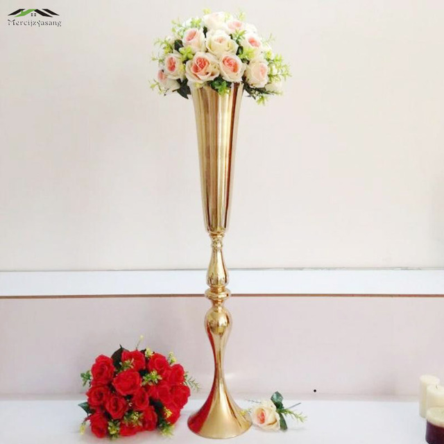 10pcslot 90cm36 Floor Vase Metal Flower Vase Table Centerpiece