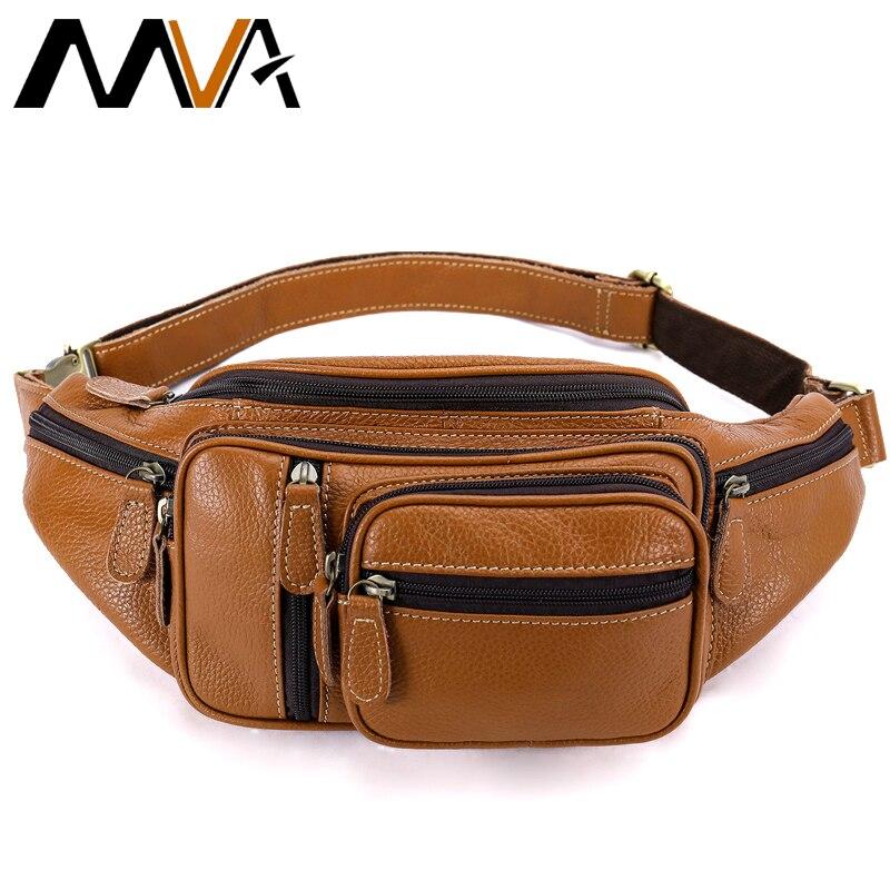 MVA Multi function Money Belt Bag Men's Waists Bags Genuine Leather Fanny Pack Phone Waist Pouch Bags Messenger Bag Men 8336