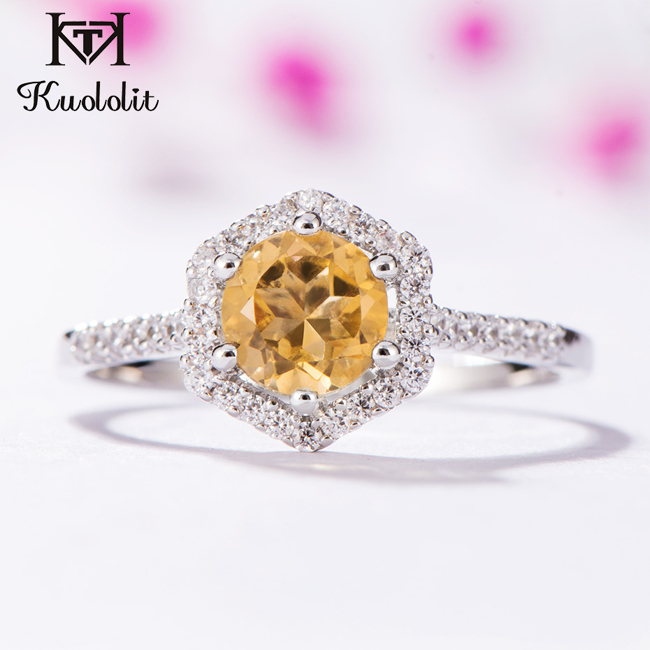 Kuololit Natural Citrine Gemstone Rings for Women 925 Sterling Silver Round Cut Stone Ring Wedding Engagement Gift Fine JewelryKuololit Natural Citrine Gemstone Rings for Women 925 Sterling Silver Round Cut Stone Ring Wedding Engagement Gift Fine Jewelry