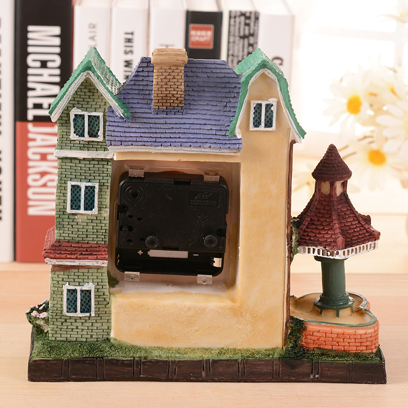 Handmade DIY Resin Crafts Castle House Alarm Clock Model Miniature