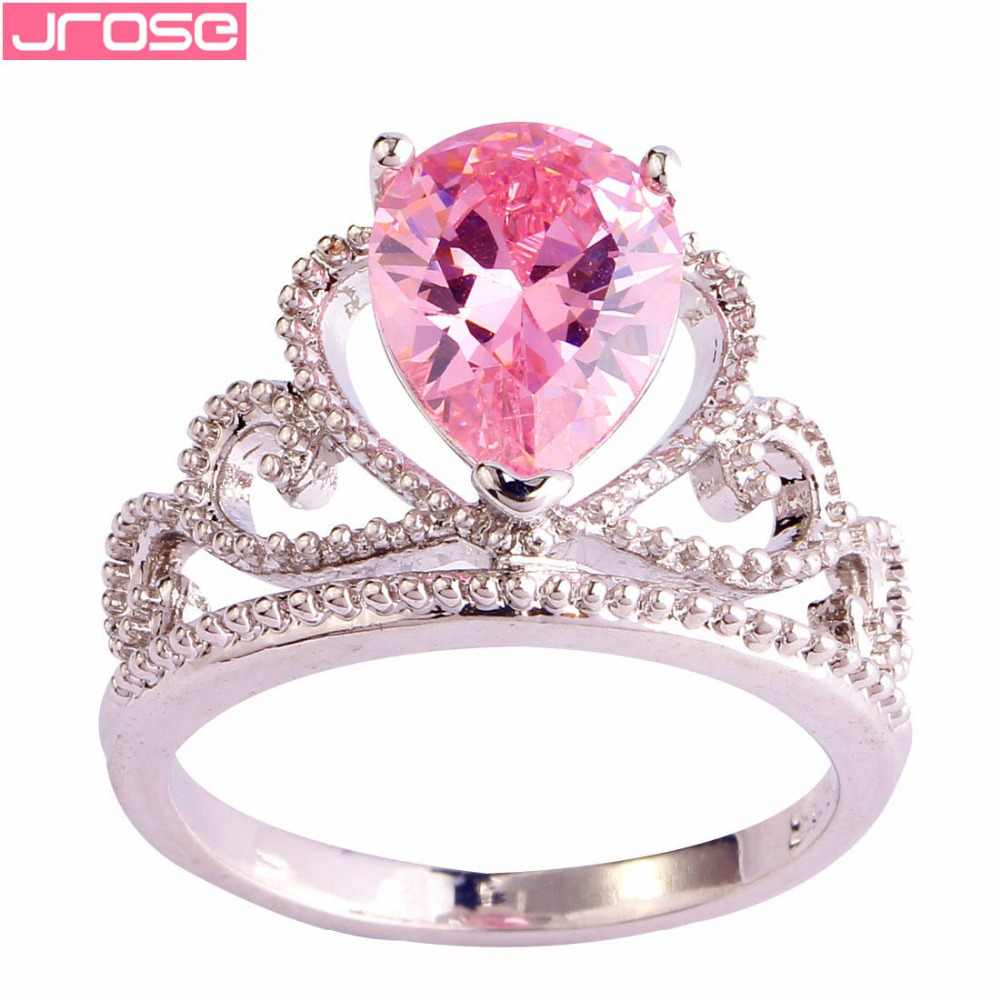 Jrose Grosir Crown Drop Air Gaya Perhiasan Fashion Rainbow Pink Silver Ukuran Cincin 6 7 8 9 10 valentine Hadiah