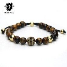 Фотография 18K Gold Plated Male Black CZ Ball Macrame Charm Bracelet Tiger Eye Stone Bead Bracelets For Men Women Pulseira Masculina G-10