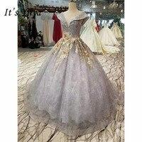It's Yiiya Sweetheart Gold Appliques Train Bride Gown Luxury Beading Trailing Wedding Dress Vestidos De Novia Casamento I032