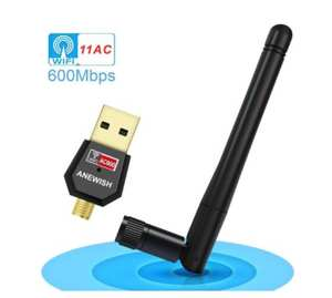 ANEWISH AC600 Dual Band 5.8 Ghz & 2.4 Ghz USB Wifi Wireless Network Adapter for PC