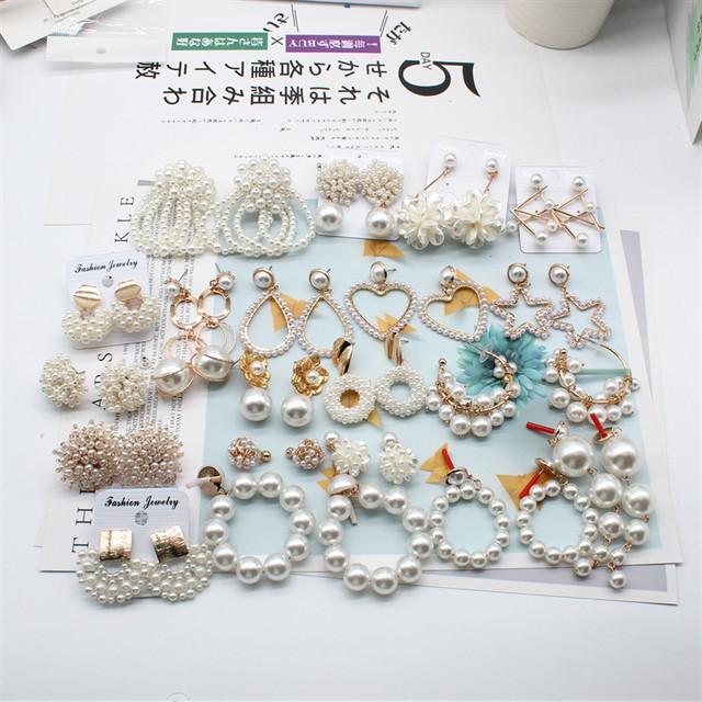 2019 nuevo diseño de joyería de moda elegantes pendientes de perlas tejidas a mano en forma de abanico pendientes para fiesta y boda para niñas regalo para mujer