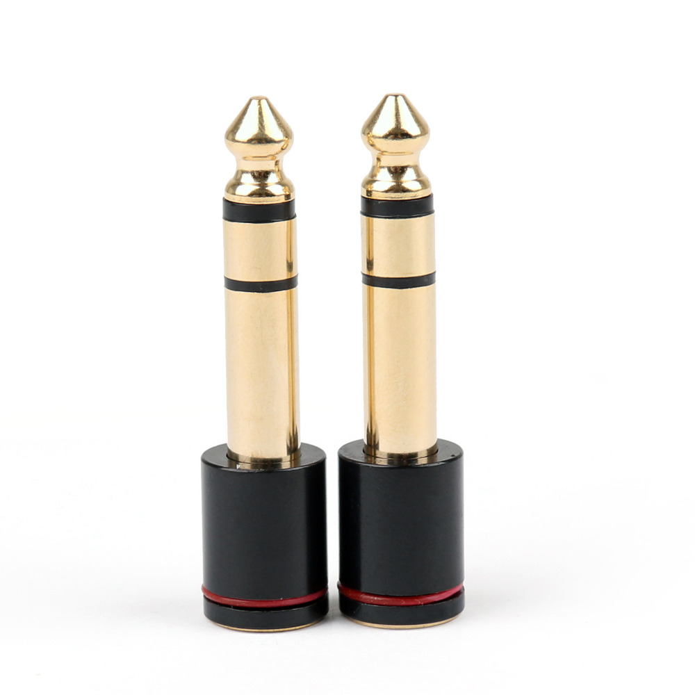 Areyourshop Sale 2PCS Copper 6.35mm Male Plug To 3.5mm Stereo Female Headphone Jack Audio Adapter areyourshop sale 50pcs 5color 2mm gold banana male plug audio adapters for instrument test probes m
