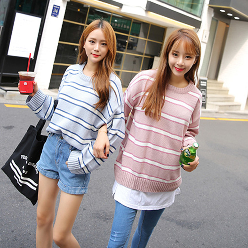 Harajuku 2017 New Women Winter Sweaters Sky blue Pink Stripes Loose Sweater Female Long Sleeve Pullovers O-Neck Cute Clothing