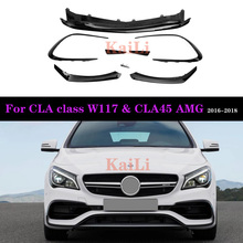 ABS Gloss Black W117 Front Bumper For Mercedes CLA Class AMG Package & CLA45 LCL 2016-2018 Canard 8 Pieces