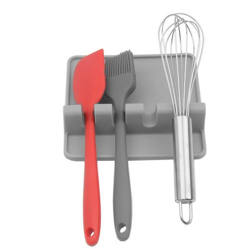 Spoon Fork Rest Holder Heat Resistant Balanced Fixed Position Food Grade Silicone for Kitchen Utensil and Cooking Tool in Spoon Rests Pot Clips from Home Garden