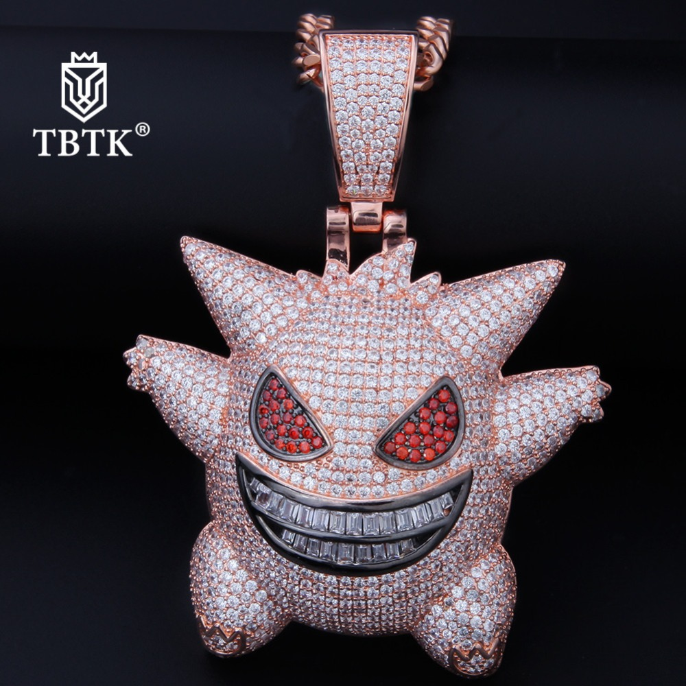 TBTK Ghost Model Pendant Necklace Rose Gold Gengar Large Pendant Street Hiphip Dance Jewelry Fashion Boy Iced Out Circon Pendant