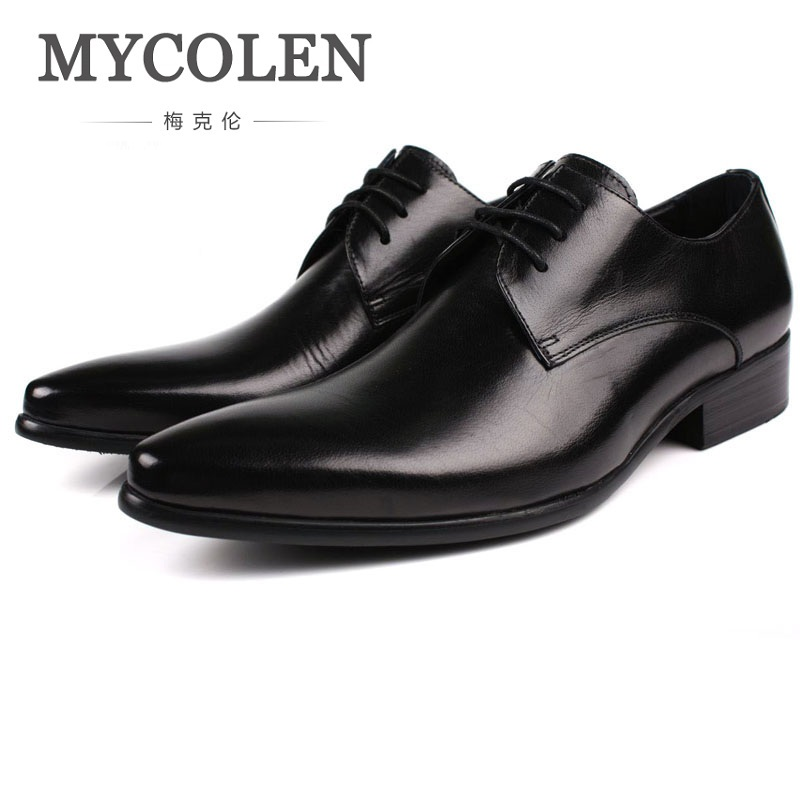 MYCOLEN Genuine Leather Mens Dress Shoes Pointed Toe Oxford Shoes For Men Lace-Up Business Breathable Men Wedding Shoes mens genuine leather oxfords shoes for men breathable stitching dress shoe british style casual flats oxford pointed toe zapatos