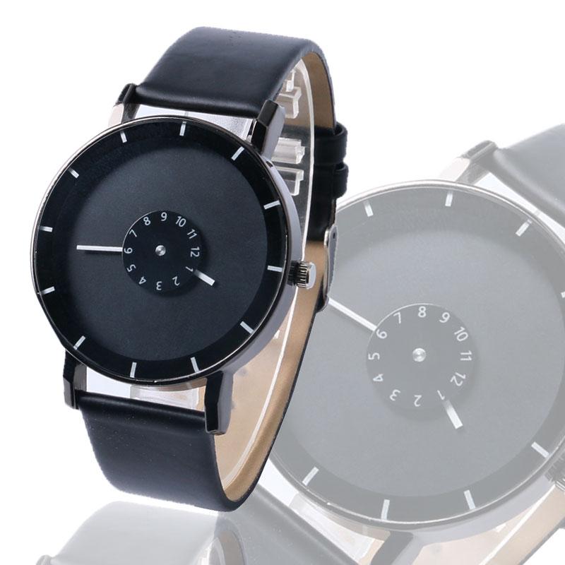 2017 Black/Whit Turntable Concise Design Men Women Quartz Wristwatches Casual Band Watch Relogio Masculino Erkek Kol Saati