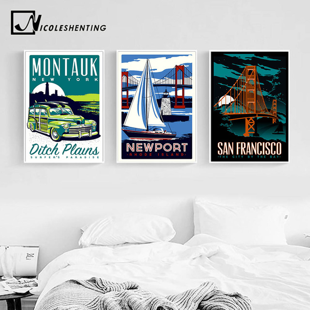 Nicoleshenting vintage poster hot rods car art canvas minimalist print san francisco picture modern home living