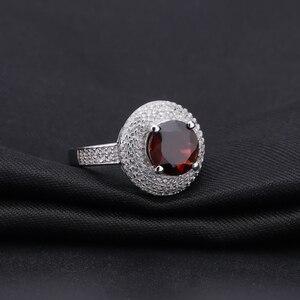 Image 2 - Gem ballet s ballet 3.15ct natural vermelho granada anel de pedra preciosa 925 prata esterlina noivado cocktail anéis para mulheres jóias finas