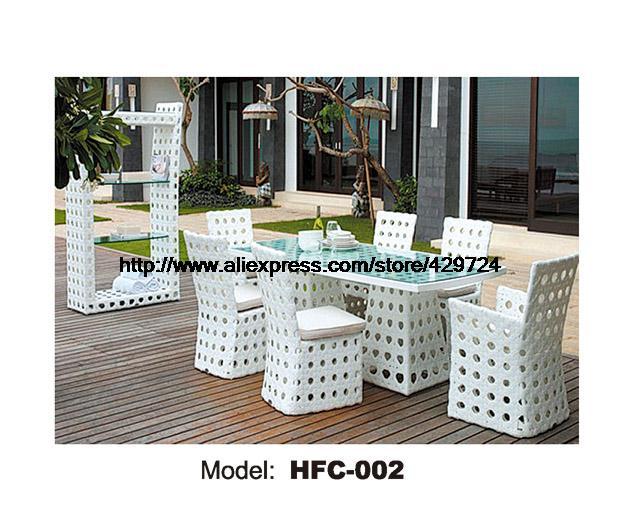 Modernen Weißen Rattan Tisch Stuhl Set 6 Stück Möbel Suite Outdoor