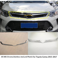 For Toyota Camry 2015 2016 2017 1pcs car body cover ABS Chrome front engine Machine racing grill grille hood lid trim molding
