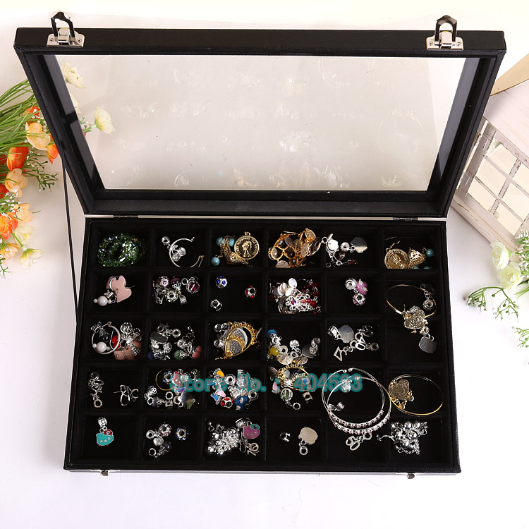 2pcs/lot 30 slots black Jewelry Display Organizer accessory storage case w/lid storage