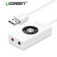 Ugreen usb звуковая карта внешний usb разъем для 3.5 мм для наушников адаптер аудио Микрофон Звуковая Карта 5.1 Без Диска для ПК Компьютеров Ноутбук