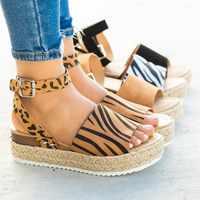Damskie damskie kliny Leopard trawy tkane Sole Roma pasek na kostkę sandały z odkrytymi palcami klamra buty Sandalias Mujer 2019 buty damskie