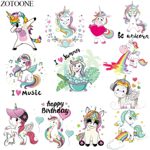 ZOTOONE Cartoon Unicorn Patch Heat Transfer Vinyl Iron On Heart Music Patches For Kids Clothing Appliques Stickers Clothes E