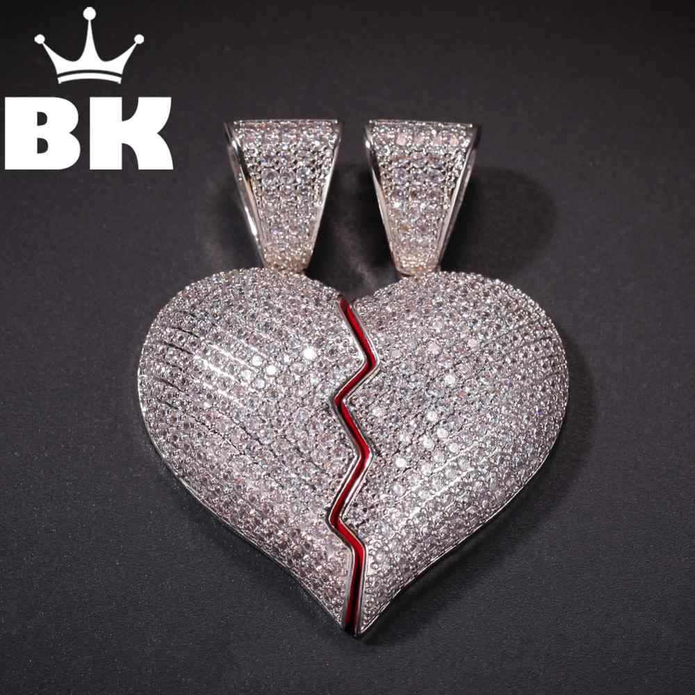 BLING KING Custom แยก broken hearts จี้ CZ จี้สร้อยคอ Hip Hop Full Iced Out Cubic Zirconia gold sliver CZ