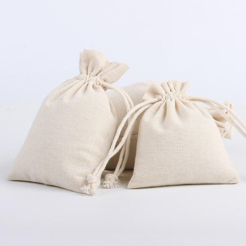 30pcs/Lot 20*30cm Custom Logo Printed Natural Cotton Eco Jute Linen Drawstring Pouch Packaging Bag