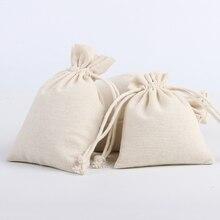 30pcs/Lot 20*30cm Custom Logo Printed Natural Cotton Eco Jute Linen Drawstring Pouch Packaging