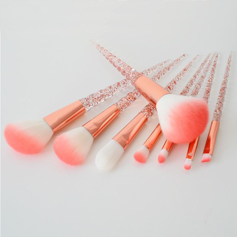 2018 New Makeup Brushes 8Pcs/Set Screw Shape Handle Unicorn Horn Brush Kit Foundation Powder Brush Rose Gold