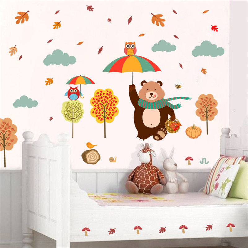 DIY PVC Lovely Bear Owlets Tree Wall Stickers Kids Bedroom Home Decoration Cartoon Decals Safari Owls Mural Art Childrens Gift