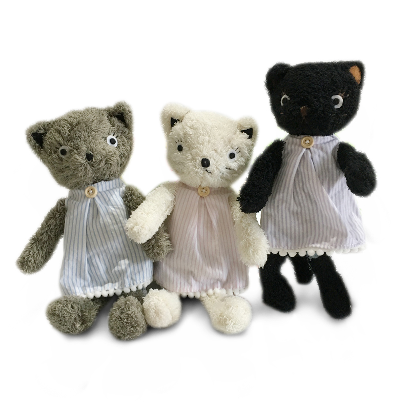 Kawaii Cats Plush Dolls Dressing Cat Stuffed Animals Plush Soft Toys For Children Girls Kids Baby Birthday Christmas Gifts