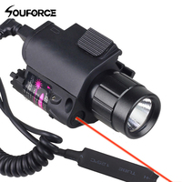 Combo Green/Red Laser Sight and LED Flashlight with 20mm Picatinny Rail Mount for Glock 17 19 22 Hunting Rifle