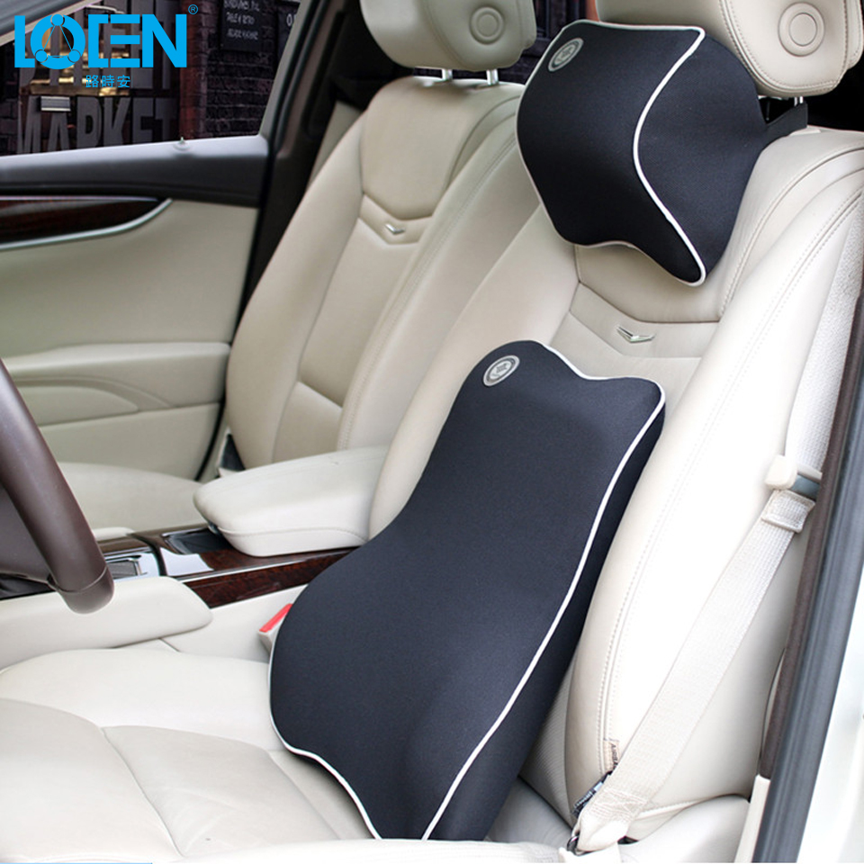 LOEN Quality Car Pillow Set Car Headrest Neck Support Pillow Car Lumbar Back Support Pillow Set Space Memory Cotton Car Cushion loen 1set of leather memory foam car seat support cover lumbar back cushion office chair lumbar support headrest neck pillow