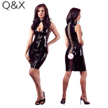 XX94 2017 New Fashion  Faux Leather Open Bra Cosplay Costumes Open Crotch PU Sexy Lingerie Dance Dress Back Open Lace Up Dress open back tribal print maxi dress