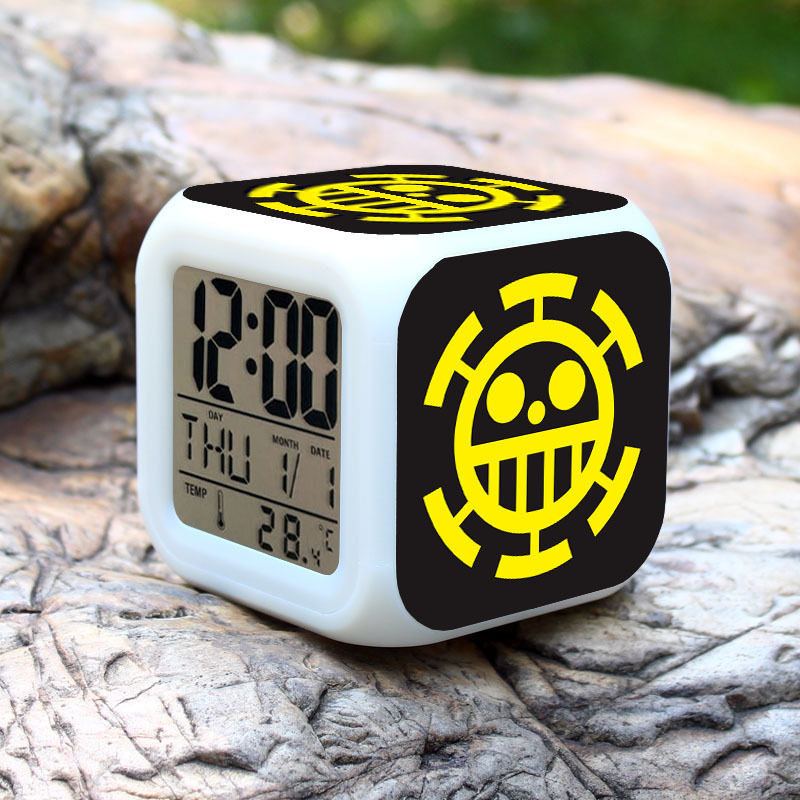 New ONE PIECE listing LED 7 Color Glowing Change Digital Glowing Alarm Thermometer Clock best clocks for kids