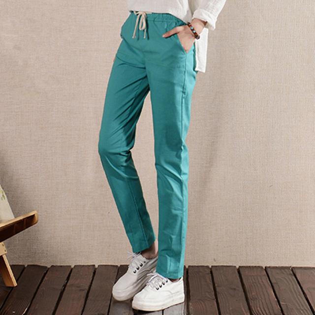 Nuevo 2016 Del Tobillo Longitud Pantalones Mujeres Pantalones Harén Suelta Más tamaño de Cintura Alta pantalones casuales Pantalones Del Ocio Del Color Puro para mujeres