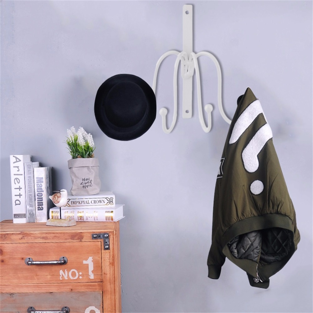 4 Hooks Clothing Hat Bag Hook Bathroom Indoor Accessories 2 Colors Robe Hooks Wall Hanger Hang Mounted Products in Hooks Rails from Home Garden