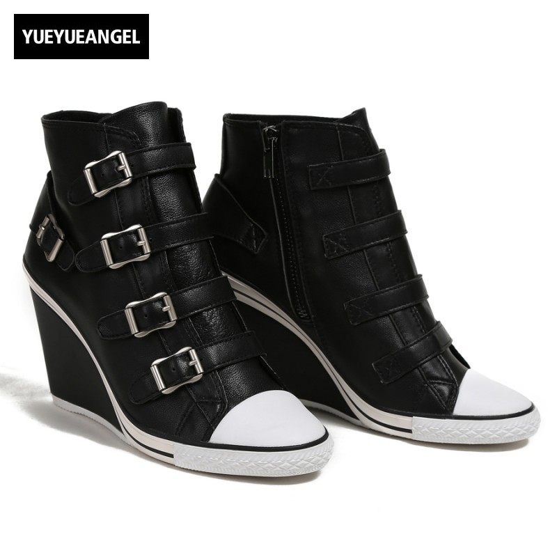 2018 New Women Shoes Genuine Leather High Top Height Increasing Wedge Shoes Casual Vintage Zipper Round Toe Sneakers Plus Size new vintage zipper manual sewing height increasing round toe platform 2 colors real leather mid calf boots women casual shoes
