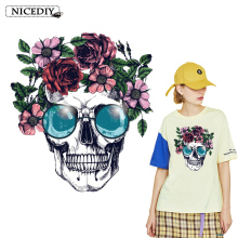 Nicediy Flower Skull Heat Transfers Patch For Clothing Fashion Style Women Sticker T-shirts Applique On Clothes DIY Washable