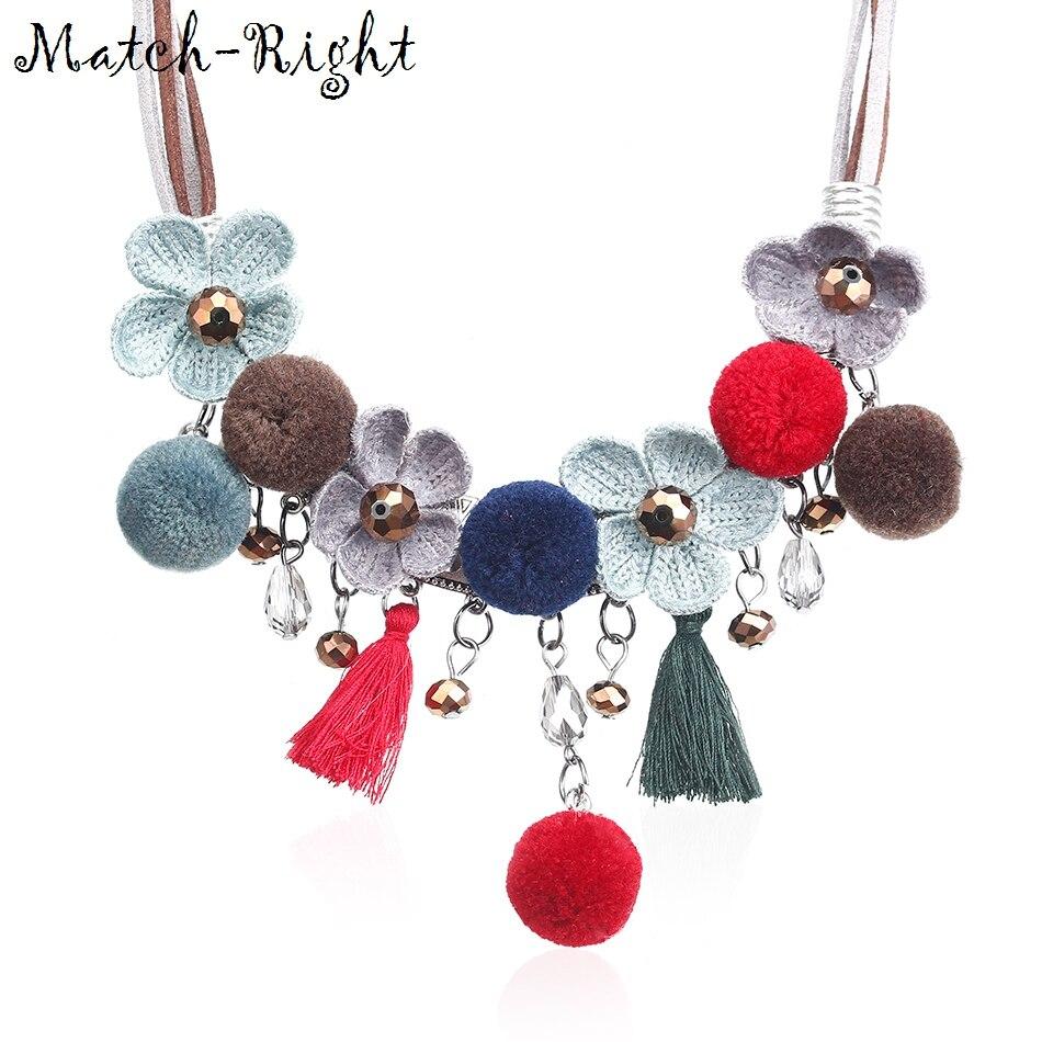 Women Velet Bib Necklaces & Pendants Statement Necklace with Pom Pom Tassels Pendants for Women Jewelry SP070