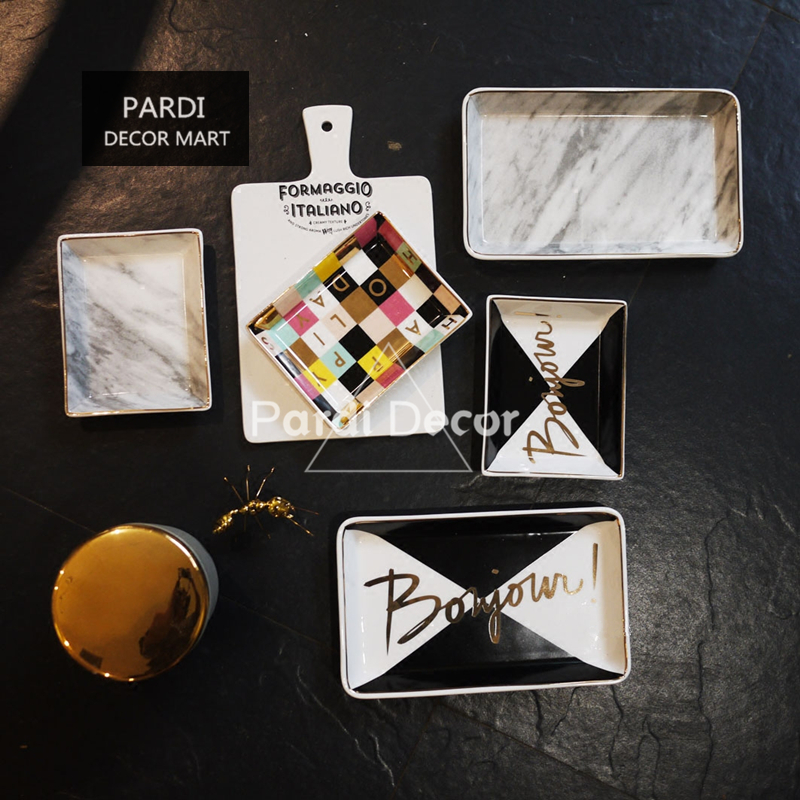 Europe fashion food plate marble plate gold line candy plate jewelry plate food decorations 1pc/lot