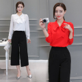 OL Fashion Women 2pcs Blouse and Pants Suit Set Butterfly Collar Shirts Wide Leg Black Pants Trendy Female Twinset