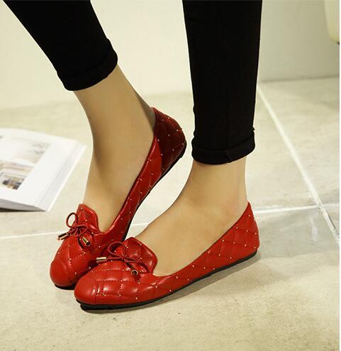 Noir Couleur Printemps Tête Femmes rouge Arc gris Nouveau Rivets Ronde 2018 Plates Chaussures Solide CtsQhrxd