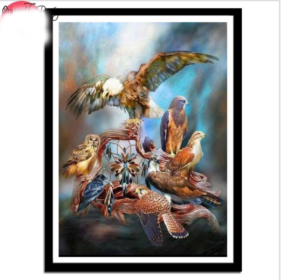 2019 Top Popolare 3d Fai Da Te Diamante Pittura Animali Uccelli Eagles Croce Punto Croce Turno Di Strass Cristalli Di Diamante Del Ricamo Kit Completo Dolorante