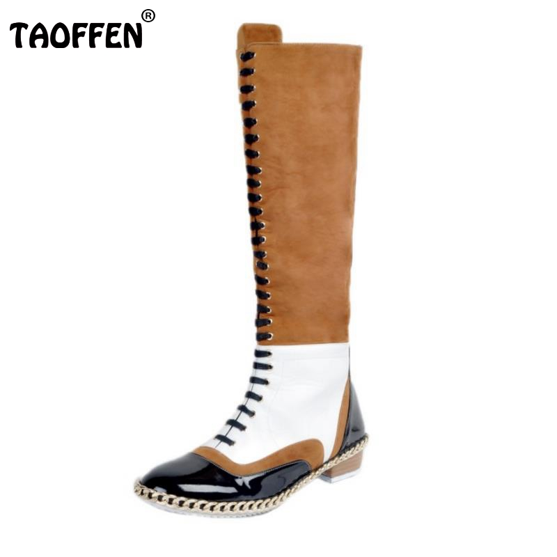 ФОТО Women Round To Knee Boots Woman Gladiator Lace Up Martin Boot New Fashion Mixed Color Footwear Flat Shoes Woman Size 34-47