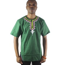 Africa Green Men`s Embroidery Ethnic Tops Summer Wear Male`s